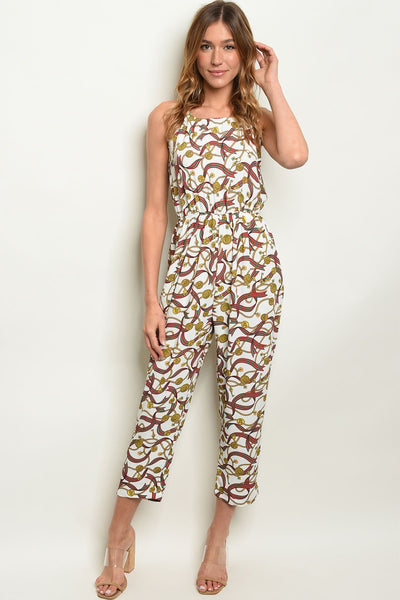 Off White Print Jumpsuit-Women - Apparel - Jumpsuits/Rompers-Small-Keyomi-Sook