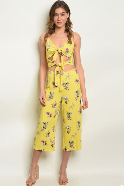 Womens Yellow Floral Top & Pants Set-Women - Apparel - Lingerie and Sleepwear - Pajama Sets-Small-Keyomi-Sook