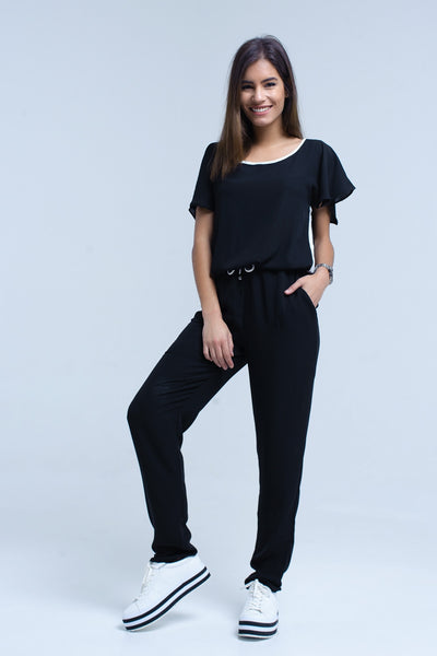 Black Jumpsuit With Short Sleeve And Ruffle Detail-Women - Apparel - Jumpsuits/Rompers-Product Details Black jumpsuit in chiffon fabric. Round neck with elastic waist and white contrast trim. Short sleeve with ruffle detail.-Keyomi-Sook