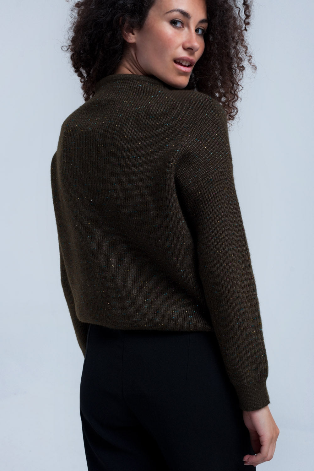 Ribbed Khaki Sweater-Women - Apparel - Sweaters - Pull Over-Product Details Ribbed khaki sweater with multicolor shiny thread striped. It has a crew neck and long sleeves. Soft woven fabric. Regular fit.-Keyomi-Sook
