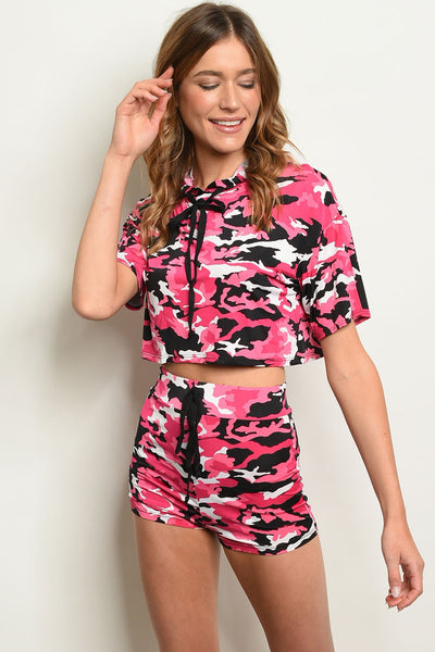 "Pink Camouflage Top & Shorts Set-Women - Apparel - Sets-Product Details Crop top & shorts camouflage set. Country: USAFabric Content: 92% POLYESTER 8% SPANDEXSize Scale: S-M-LDescription: TOP: L: 15"" B: 36"" W: 36"" SHORTS: L: 12"" W: 24"" I.S.: 1""-Keyomi-Sook"