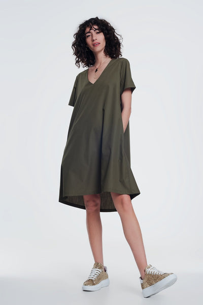 Poplin Khaki Shiny Dress With v Neck-Women - Apparel - Dresses - Casual-Large-Keyomi-Sook