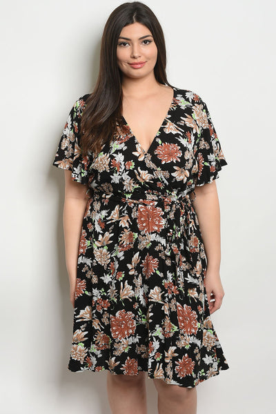 Womens Floral Plus Size Dress-Women - Apparel - Dresses - Day to Night-1XL-Black Floral-Keyomi-Sook