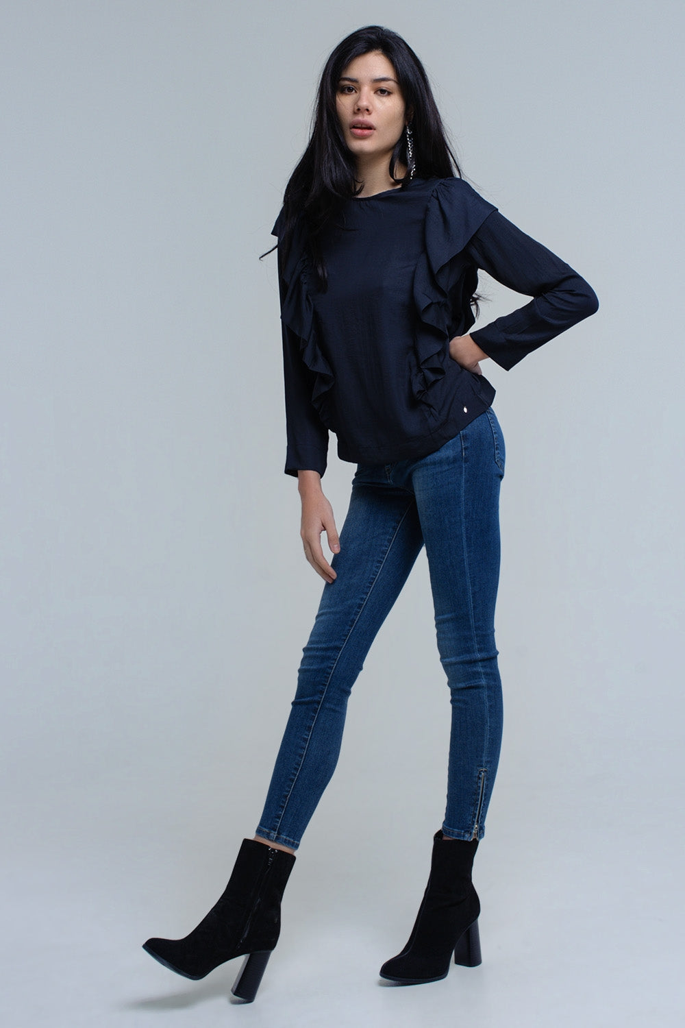 Top With Ruffle Detail In Navy-Women - Apparel - Shirts - Blouses-Product Details Top in soft fabric in navy . It has a round neck with a ruffle detail at the front and the back. Feature open back detail with button closure.-Keyomi-Sook