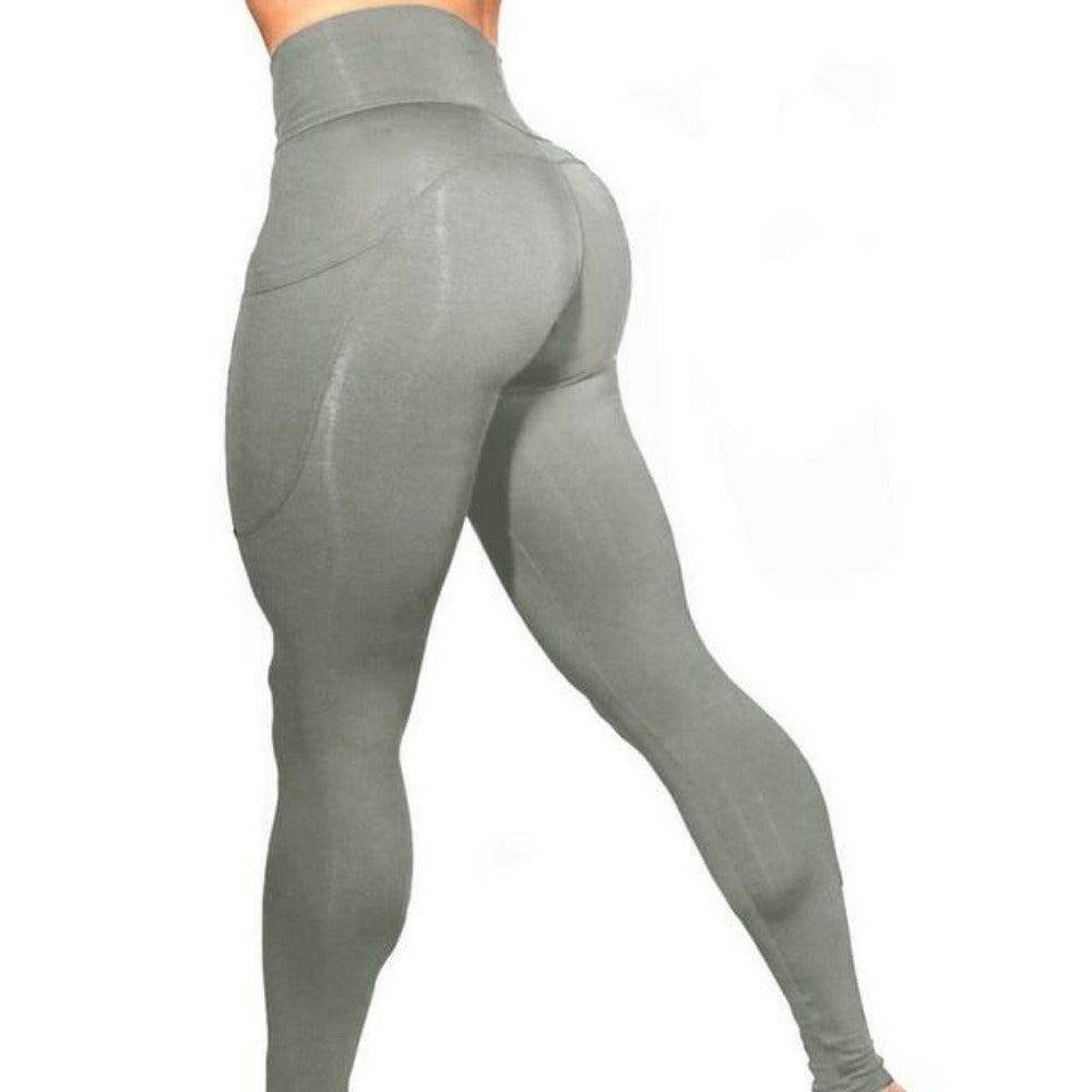 Women'S High Waist Phone Pocket Leggings-Women - Apparel - Activewear - Leggings-Gray-S-Product Details: Women's Elastic High Waist Phone Pocket Push Up Fitness Leggings Size Chart:-Keyomi-Sook