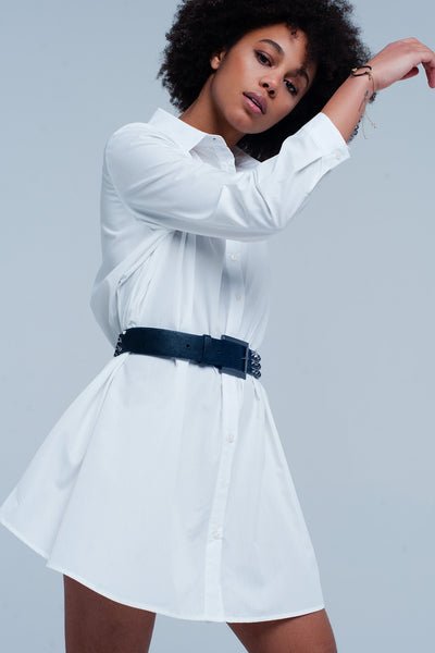 Basic White Poplin Longline Shirtdress-Women - Apparel - Dresses - Day to Night-M-Keyomi-Sook