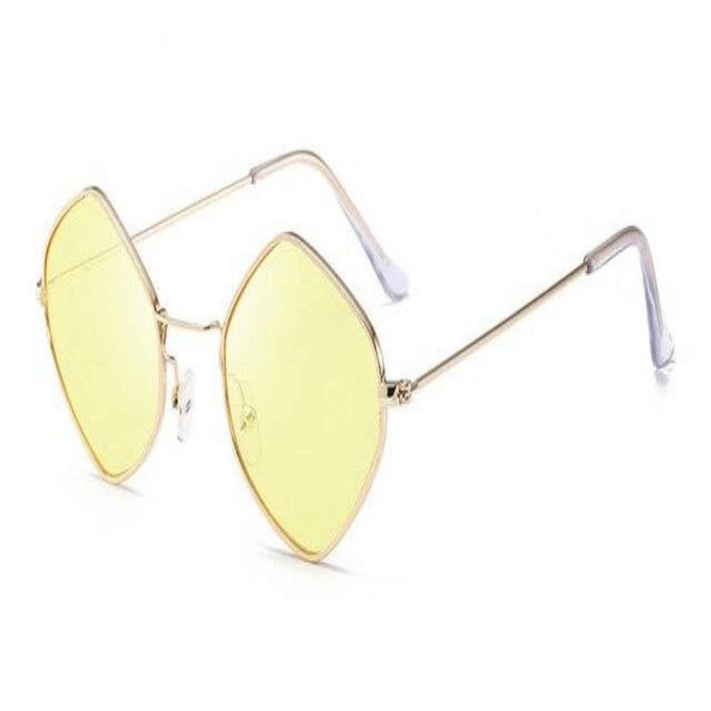 Men & Women's Clear Polygon Sunglasses-Ladies Sunglasses-C6-Yellow-Product Details: Men & Women's Clear Polygon Vintage Sunglasses Lenses Optical Attribute: Mirror, UV400, Anti-Reflective Frame Material: Alloy Lenses Material: Polycarbonate Dimensions: Lens Width: 53 mm Lens Height: 46 mm-Keyomi-Sook