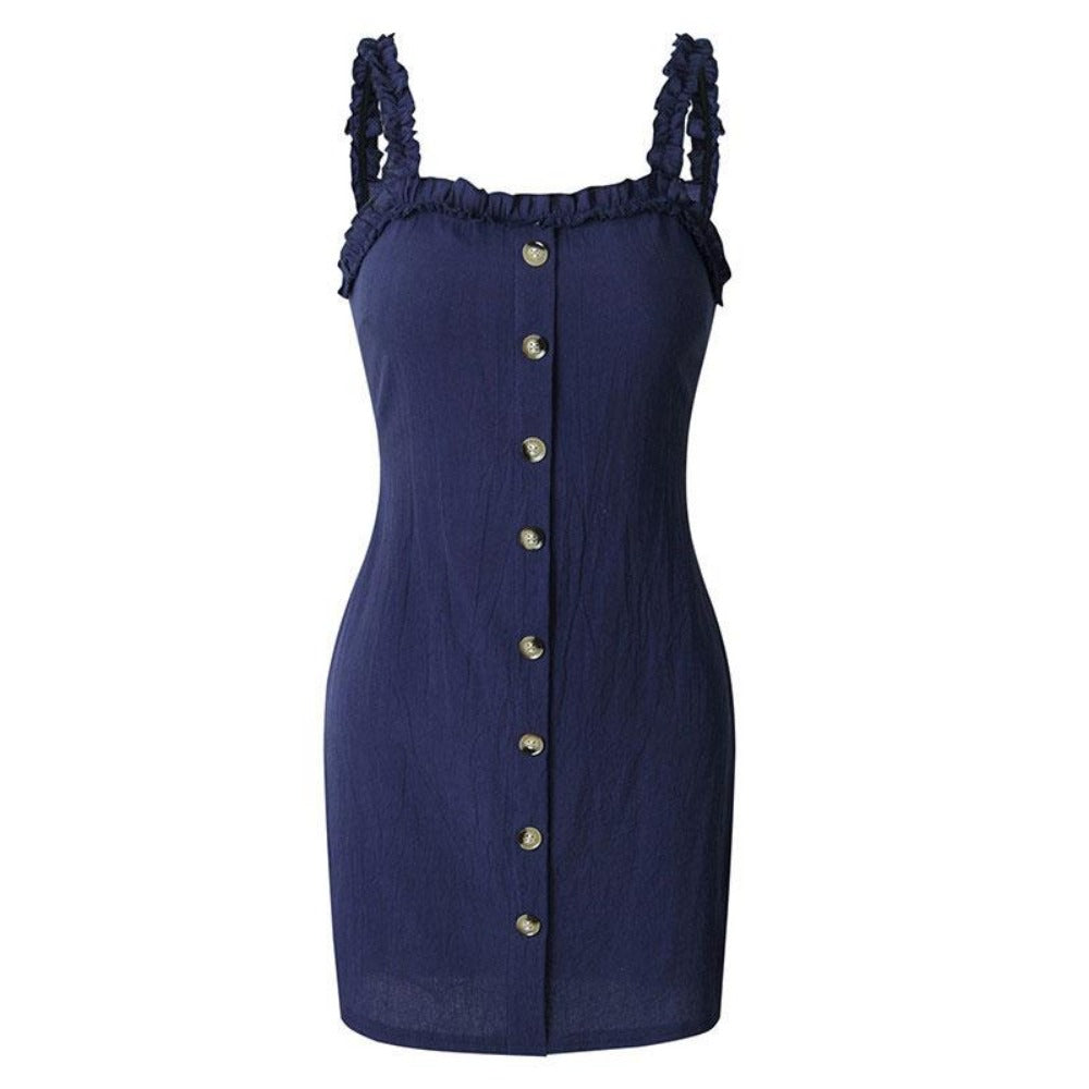 Strap Wrap Bodycon Dress-Navy Blue-S-Product Details: Women Sexy Bodycon Summer Dress Beach Strap Wrap Dress Material: Polyester Silhouette: Sheath Decoration: Button Dresses Length: Above Knee, Mini Sleeve Style: Spaghetti Strap Waistline: Natural Neckline: Slash Size Chart:-Keyomi-Sook