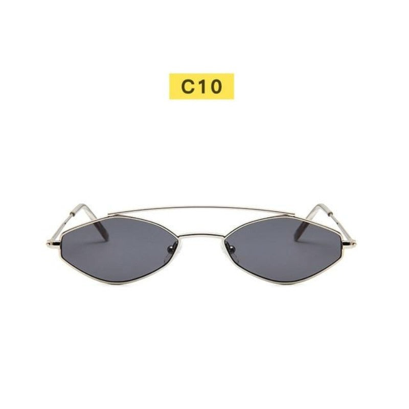 90's Oval Nose Resting Sunglasses-Ladies Sunglasses-C10-Blk Silver-Product Detail: 90s Sunglasses Women Retro Oval Sunglasses Lady Brand Designer Vintage Sunglasses Girls Eyeglasses UV400 Frame Material: Alloy Lenses Material: Acrylic Dimensions: Lens Height: 30 mm Lens Width: 52 mm-Keyomi-Sook