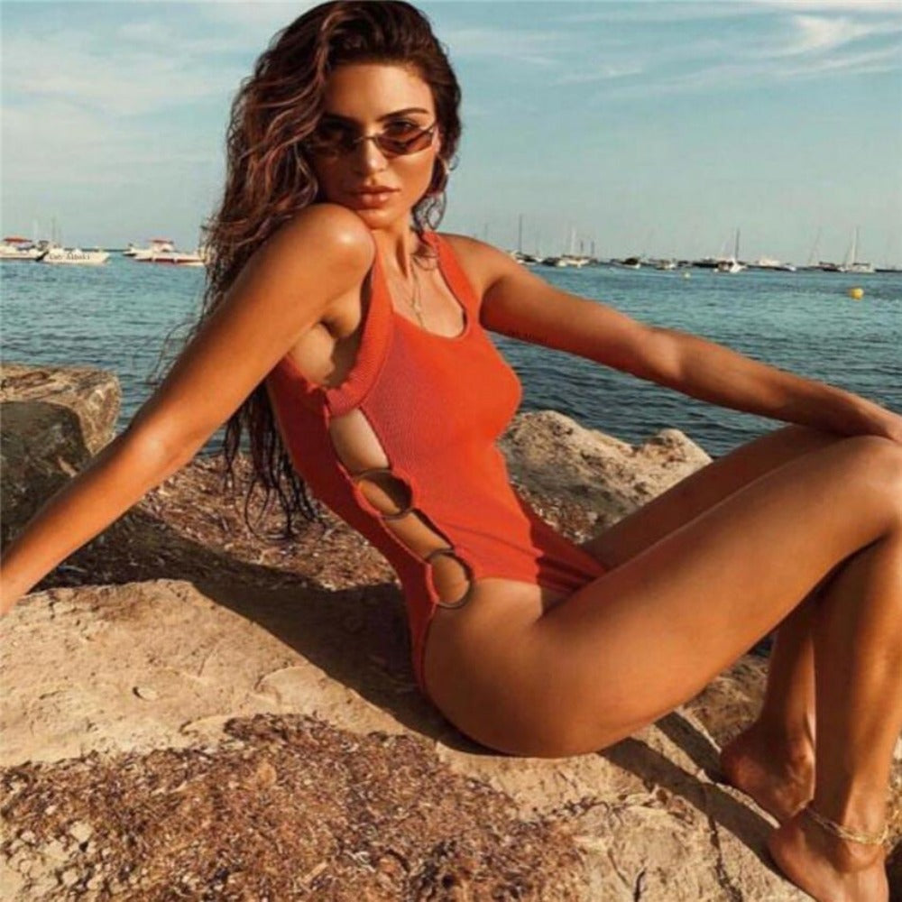 Women'S Open Side High Waist Monokini-Ladies Swimwear-Product Details: Women's Open Side High Waist One Piece Monokini Material: Polyester, Spandex Size Chart:-Keyomi-Sook