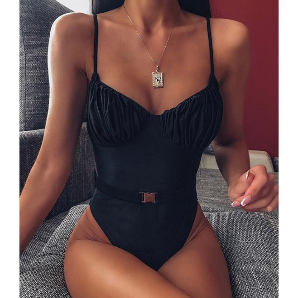 Women'S Belt Push Up Swimwear-Ladies Swimwear-Black-S-Product Details: Women's Belt Push Up Bodysuits Swimwear Material: Nylon, Polyester Sport Type: Swim Size Chart:-Keyomi-Sook