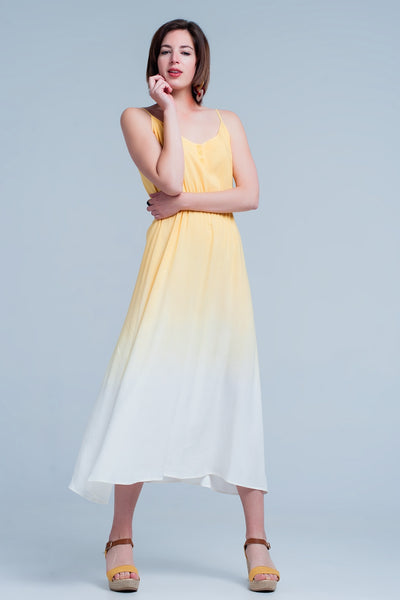 Yellow Ombre Dress-Women - Apparel - Dresses - Day to Night-Product Details Thin and airy yellow ombre dress. This dress has thin straps that you can adjust, an elastic waist and buttons at the front.-Keyomi-Sook