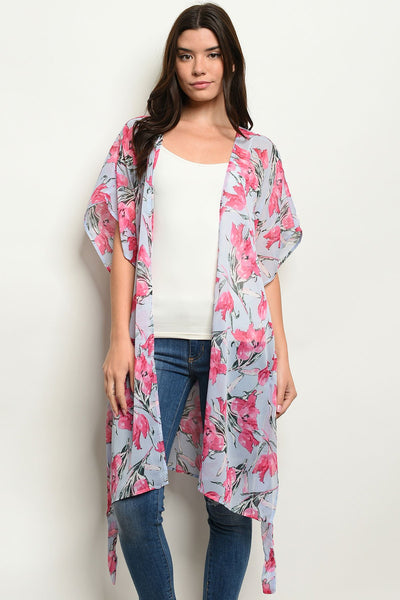 "Womens Floral Kimono-Women - Apparel - Outerwear - Blazers-Product Details Short sleeve open front floral kimono. Country: CHINAFabric Content: 100% POLYESTERSize Scale: S-M-LDescription: L: 36"" B: 48"" W: 48""-Keyomi-Sook"