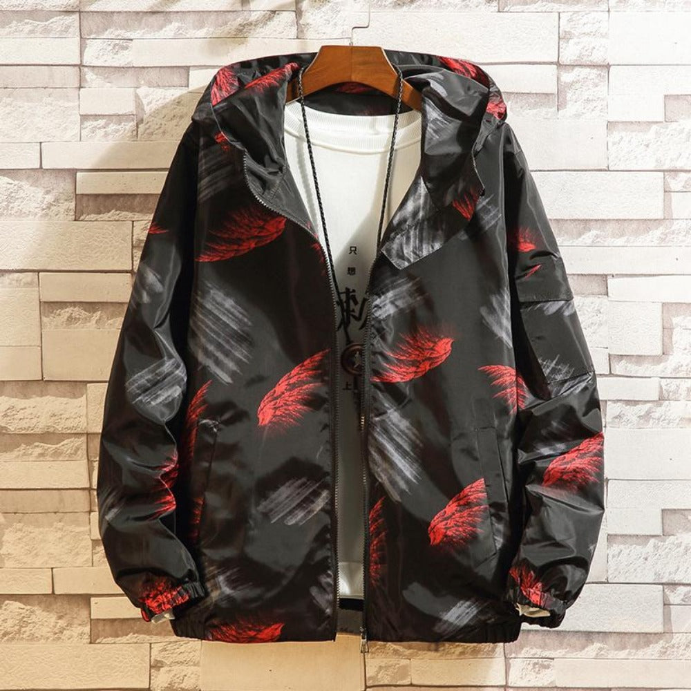 Men's Feather Print Graffiti Windbreaker Jacket-Urban Wear Men-red-M-Product Details: Men's Feather Print Graffiti Turn-Down Collar Windbreaker Hooded Jacket Material: Polyester Style: Preppy Collar: Turn-down Cuff Style: Rib Sleeve Closure Type: Zipper Lining Material: Polyester Thickness: Thin Size Chart:-Keyomi-Sook