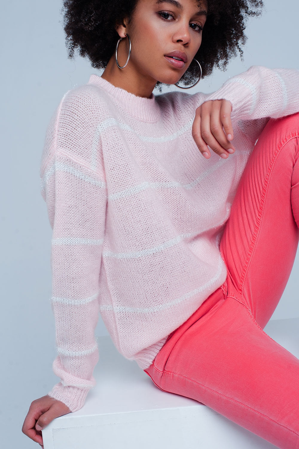 Pink Striped Crew Neck Sweater-Women - Apparel - Sweaters - Pull Over-Product Details Pink with white striped jumper of a very strong and soft mix of acryl wool and mohair fabrics. The pullover has a round closed neck and long sleeves with on the hip a metal pleated Q2 logo attached.-Keyomi-Sook