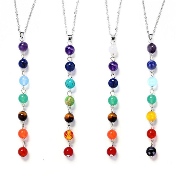 Women's Seven Color Stone Chakra Necklace-Ladies Necklaces-Product Details: Women's Seven Color Stone Chakra Dangle Pendant Necklace Item Type: Pendants Metals Type: Zinc Alloy Material: Artificial Coral Gender: Women Color: Colorful Shape: beads Dimensions:-Keyomi-Sook