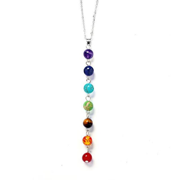 Seven Color Stone Chakra Dangle Pendant Necklaces-Ladies Necklaces-DK3439-Keyomi-Sook
