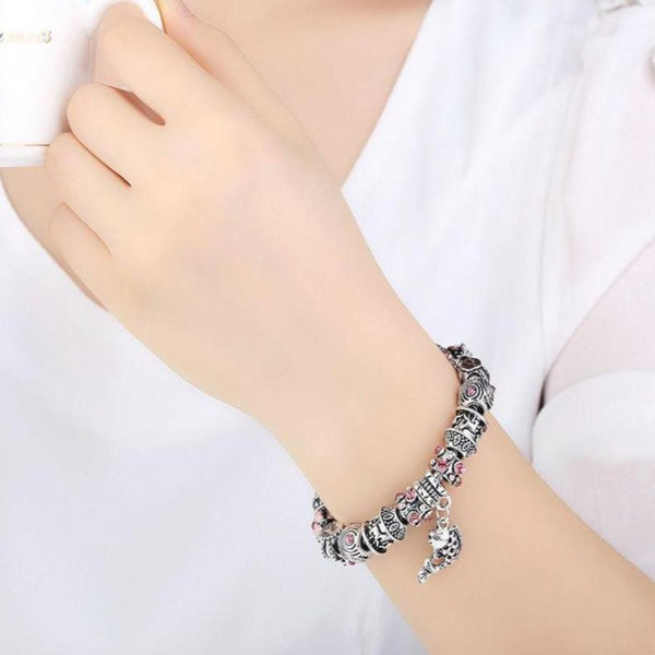 Women's Fish Charm Bracelet-Ladies Bracelets-Product Details: Women's Pink and Silver Fish Glass Charm Bracelet Material: Alloy +Glass Beads + Silver Plated-Keyomi-Sook