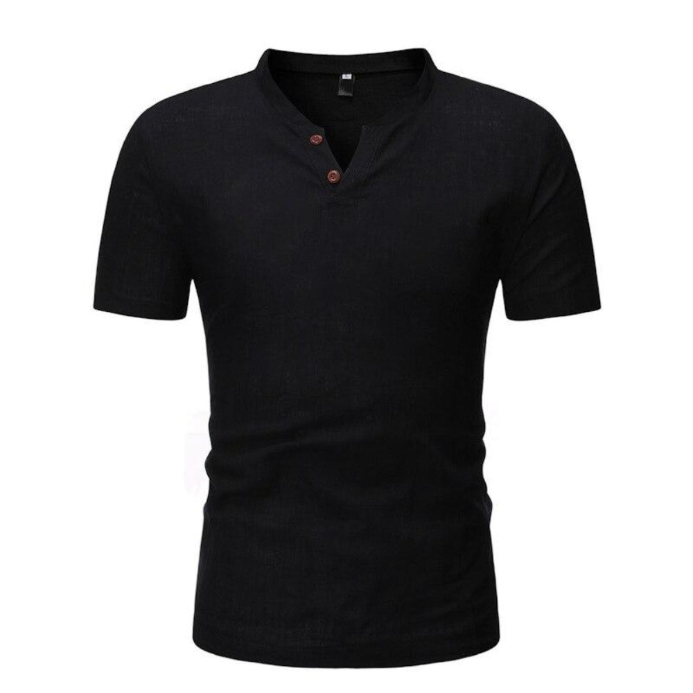 Men's Short Sleeve 2 Button Collarless Henley Shirt-Men's Shirt-black-M-Product Details: Men's Button Down Short Sleeve Slim Fit Henley Casual Dress Shirt Item Type: Shirts Shirts Type: Casual Shirts Material: Linen, Spandex Sleeve Length (cm): Short Collar: Mandarin Style :Casual Fabric Type: Broadcloth Sleeve Style: Regular Pattern Type: Solid Closure Type: Single Breasted Size Chart:-Keyomi-Sook