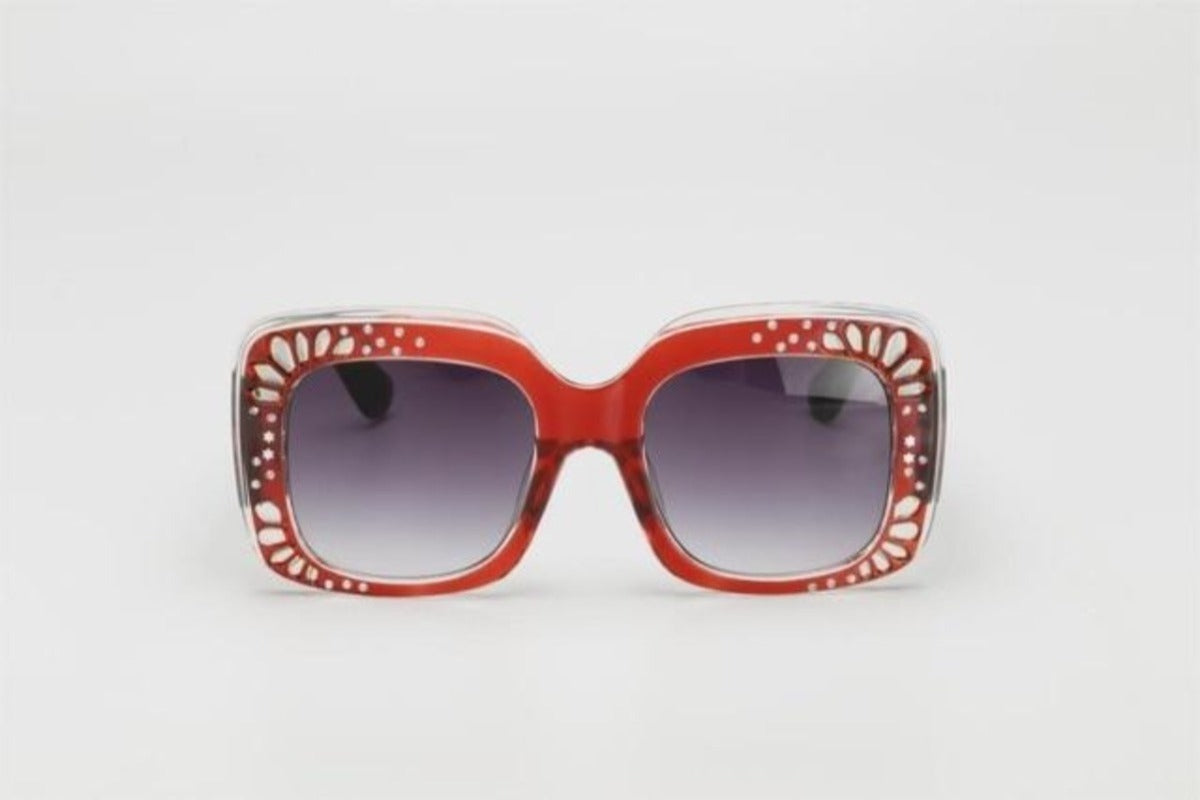 Side Striped Oversized Rhinestone Sunglasses-Ladies Sunglasses-c3 red gray-Product Details: Oversized Rhinestone Sunglasses Women luxury Brand Shades Big Frame Ladies Trendy Sunglasses Style: Square Lenses Material: Polycarbonate Dimensions: Lens Height: 47 mm Lens Width: 52 mm-Keyomi-Sook