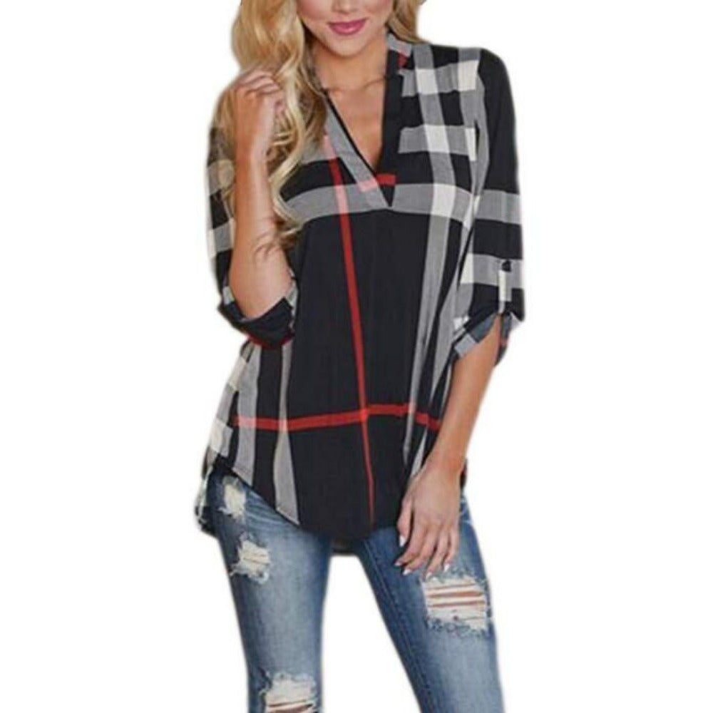 Women's 2/3 Sleeve Plaid Shirts-Tops, Blouses, & Tees-Black-S-Product Details: Women's V-Neck 2/3 Sleeve Casual Plaid Shirts Material: Cotton, Acrylic Size Chart:-Keyomi-Sook