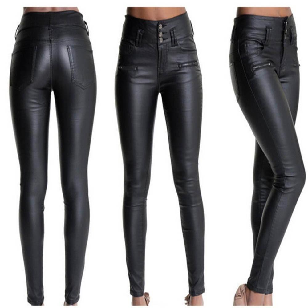 Women'S Faux Leather Stretchy Skinny Jeans-Women - Apparel - Pants - Skinny-Black-L-Product Details: Women's Faux Leather Stretchy High Waist Skinny Pants Material: Artificial Leather Decoration: Bandage Closure Type: Buttons Size Chart:-Keyomi-Sook