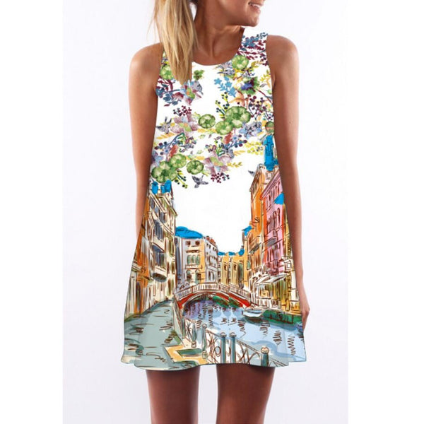 Women'S Floral Print Sleeveless Chiffon Beach Dress-Ladies Baby Doll & Shirt Dresses-A-Amsterdam-M-Product Details: Lovely Sleeveless Colorful Printed Tank-Top Summer Beach Dress Variety Of Designs From Floral Prints And Graphic Artistry To Pop Culture Designs. Beautiful Over The Knee Short Sundress Sizes M-XXL <<=<<=<<=<<=USE DROP DOWN BOX TO CHOOSE AND PHOTO WILL CHANGE ABOVE Size Chart: The Sizes Run Smaller For This Item 1-3 CM Difference 1 CM Is 0.39 Inches It Is Suggested To Go Up In Size(