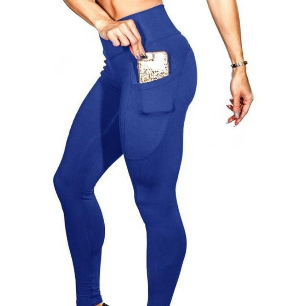 Women'S High Waist Phone Pocket Leggings-Women - Apparel - Activewear - Leggings-Navy Blue-S-Product Details: Women's Elastic High Waist Phone Pocket Push Up Fitness Leggings Size Chart:-Keyomi-Sook