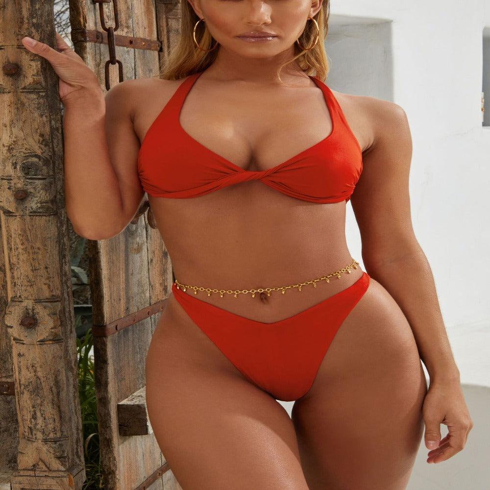 Women'S Front Knot Push Up Swimsuit-Ladies Swimwear-Red-S-Product Details: Women's Front Knot Push Up Bikini Swimsuit Set Item Type: Bikinis Set Waist: Low Waist Support Type: Wire Free With Pad: Yes Pattern Type: Solid Material: Polyester-Keyomi-Sook