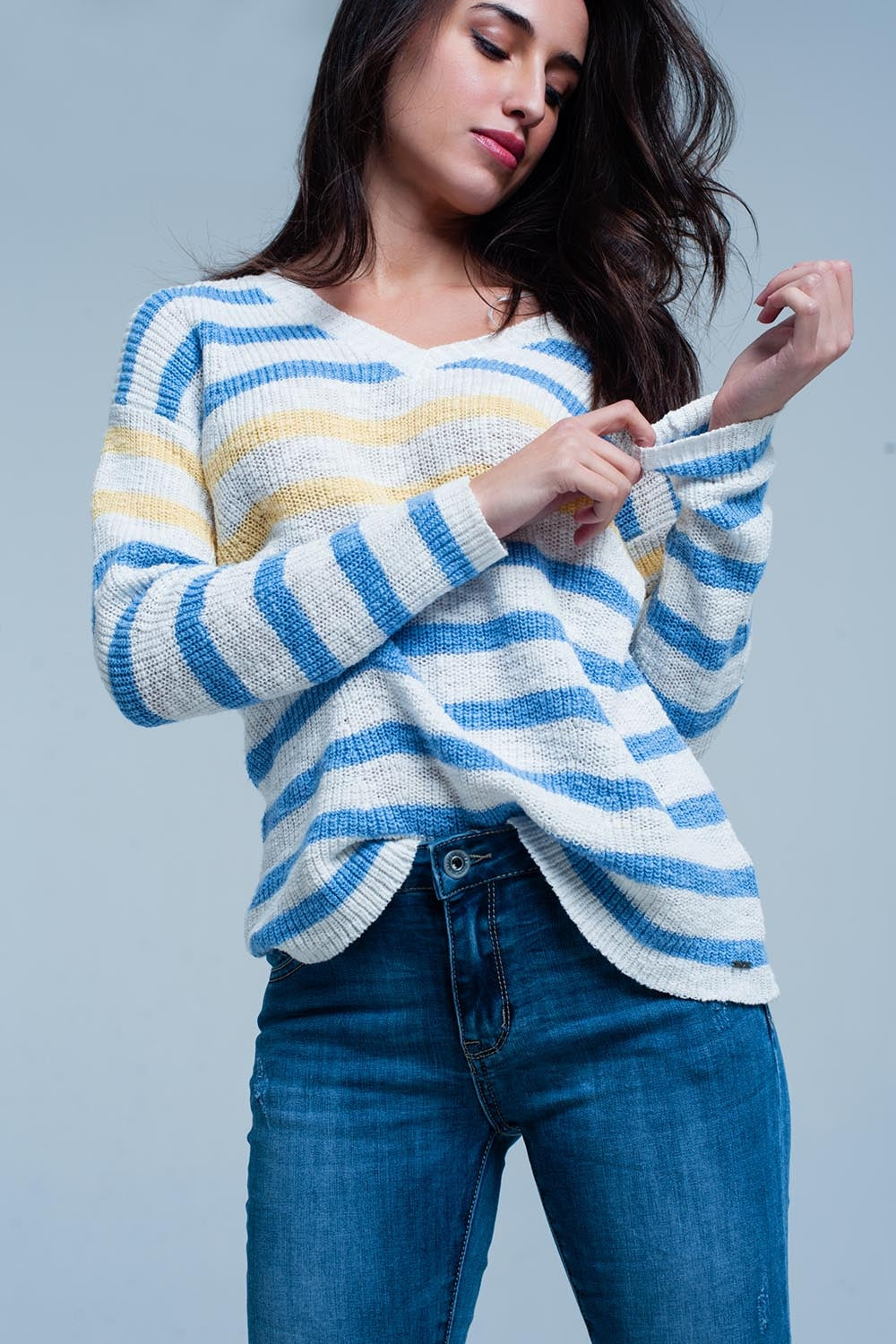 Blue Striped V-Neck Sweater-Women - Apparel - Sweaters - Pull Over-Product Details Light blue sweater with blue and yellow stripe pattern of very strong chunky knitted cotton. The pullover has a slightly ribbed knit texture long sleeves and a V-neck.-Keyomi-Sook