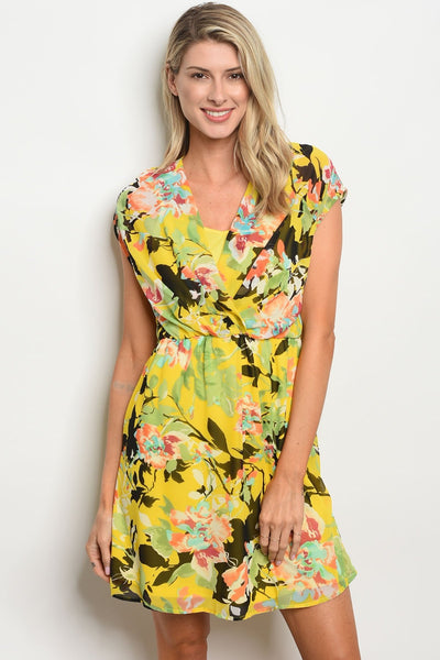 Womens Floral Print Dress-Women - Apparel - Dresses - Day to Night-Small-Yellow Floral-Keyomi-Sook