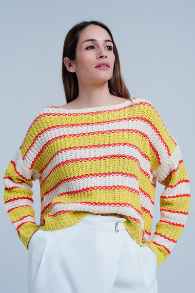 Yellow Striped Rib Stitch Knitted Sweater-Women - Apparel - Sweaters - Pull Over-L-Keyomi-Sook
