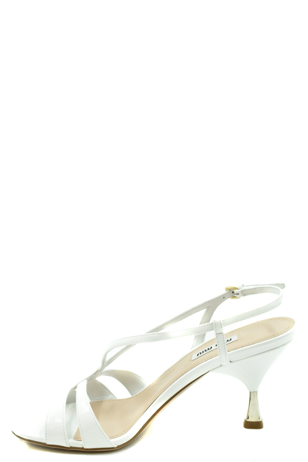 Shoes Miu Miu-Women's Fashion - Women's Shoes - Women's Sandals-Product Details Type Of Accessory: ShoesTerms: New With LabelSeason: Spring / SummerMain Color: WhiteMade In: ItalyGender: WomanHeel'S Height: 7,5 CmSize: EuComposition: Dye 100%Year: 2020Manufacturer Part Number: 5X154D 3Asn-Keyomi-Sook