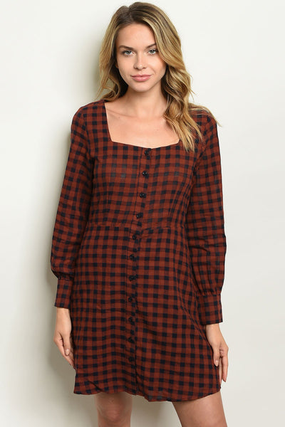 Womens Checkered Dress-Women - Apparel - Dresses - Day to Night-Small-Earth Navy-Keyomi-Sook