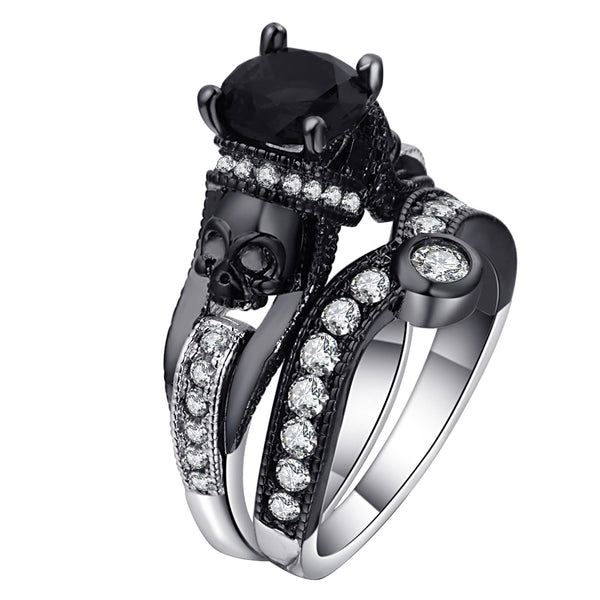 Women Black Crystal Skull Ring-Ladies Rings-RB2716B-B-5-Keyomi-Sook