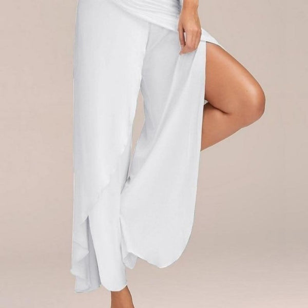 S-5XL Low Waist Wide Leg Loose Split Palazzo Yoga Pant-Pant(s)-WHITE-S-Product Detail: Relax Loose Comfortable Casual Pants With Split S-5XL Size Split Casual Loose Wide Leg Pants Women Palazzo Yoga Long Pants Solid Low Waist Trousers Female Material: Polyester, Linen-Keyomi-Sook