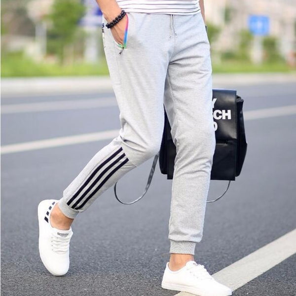 Men's Striped Slim Fitted Harem Pants-Mens Pants and Shorts-Grey MT201-M-Product Details: Men's Striped Slim Fitted Plus Size Harem Pants Material: Cotton, Polyester Waist Type: Mid Length: Full Length Thickness: Lightweight Front Style: Flat Size Chart:-Keyomi-Sook