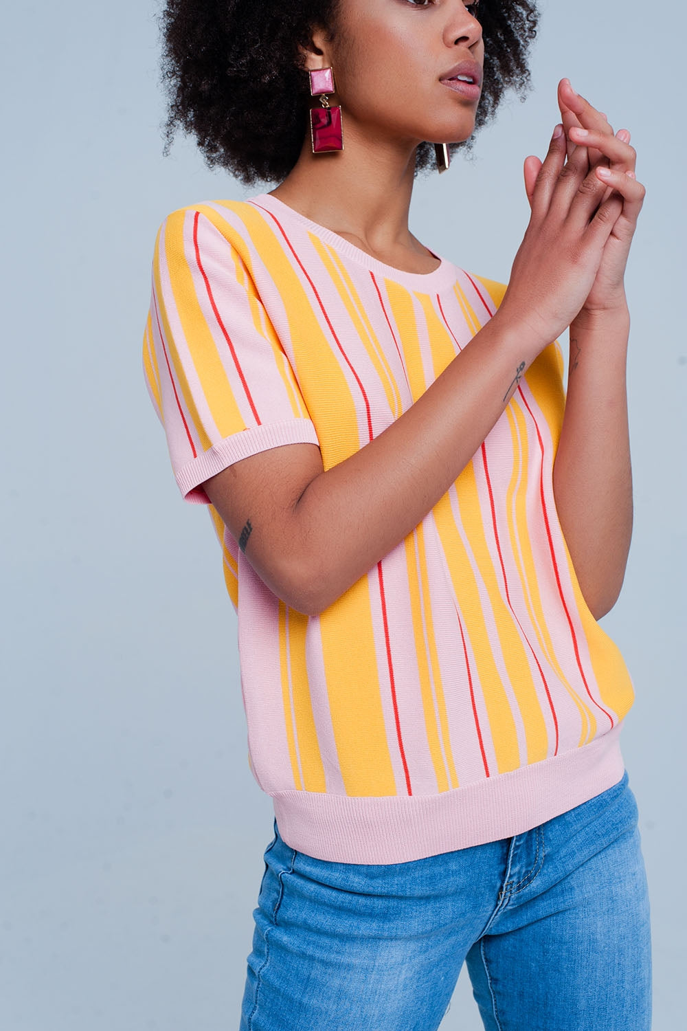 Pink Striped Short Sleeve Sweater-Women - Apparel - Sweaters - Pull Over-Product Details Light pink fine knittd jumper from thin viscose and polyamide in vertical stripes yellow and orange colored. The pullover contains short sleeves and a round neck both finished with an elastic ribbed edge. The hip is also ending with a stretchy band and has a metal pleated Q2 logo attached to it.-Keyomi-Sook