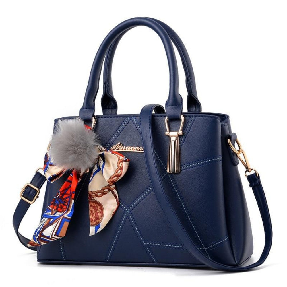 Women' Ribbon Bow Pom-Pom Leather Scarf Bag-Deep Blue-Max Length 31cm-Product Details: Women's Stylish Cross-body Leather Bag With Geometric Stitching. Lots Of Color Choices With Latest Designer Looks. Filigree Design Prints Scarfs Puffy Pom-Pom Accent. Item Type: Handbags Shape: Satchels Main Material: PU Handbags Type: Shoulder Bags Types of bags: Shoulder & Cross-body Bags Lining Material: Polyester Number of Handles/Straps: Single Decoration: Ribbons Style: Vintage Pattern Type: Geometric Cl