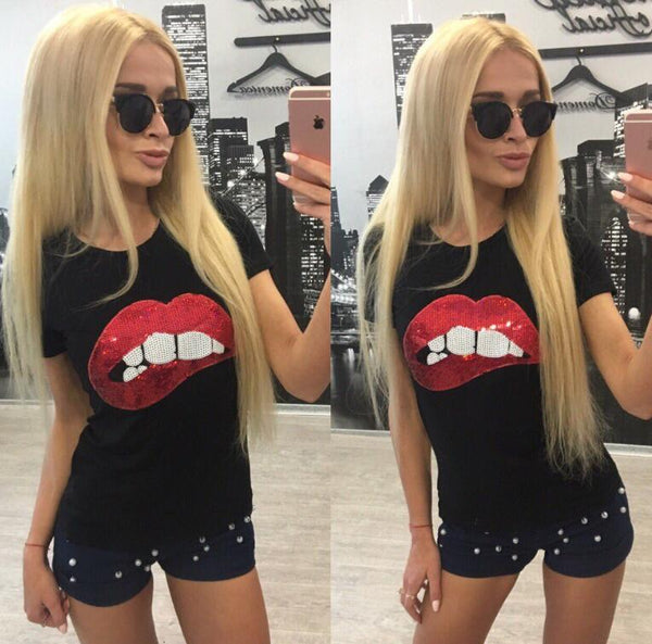 Sequin Lips Print T-Shirt-Ladies Tees-Product Details: Women Sequins Lips Round Neck Short-sleeved T-shirt Material: Cotton, Polyester Fabric Type: Broadcloth Decoration: Sequined Size Chart: size LENGTH bust s 59 86 m 60 90 l 61 94 XL 62 98-Keyomi-Sook