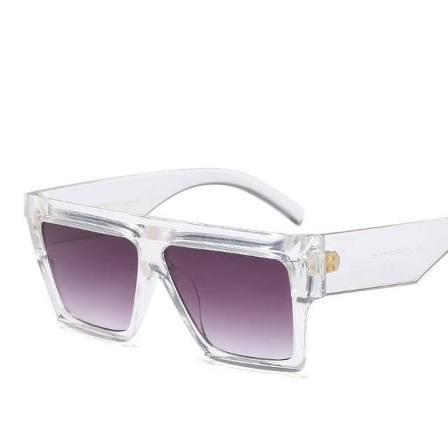 Flat Top Big Frame Luxury Sunglasses-Ladies Sunglasses-D653 C6 clear grey-Product Detail: Unisex Star Style Brand Designer Sunglasses Women Vintage Luxury Flat Top Full Frame Sun glasses For Female Shades UV400 Lenses Optical Attribute: Gradient, UV400 Lenses Material: Resin Dimension: Lens Width: 70 mm Lens Height: 46 mm-Keyomi-Sook
