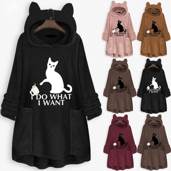 Women's Fleece Cat Ear Hoodie Sweatshirt-Sweaters & Sweatshirts-Product Details: Women's Fleece Cat Ear Long Pocket Oversize Hoodie Sweatshirt Material: Polyester Decoration: Embroidery Sleeve Length: Long Sleeve Length: Regular Collar: O-Neck Style: Casual, Fashion Occasion: Casual, Daily Package Include: 1 * Tops Size Chart:-Keyomi-Sook