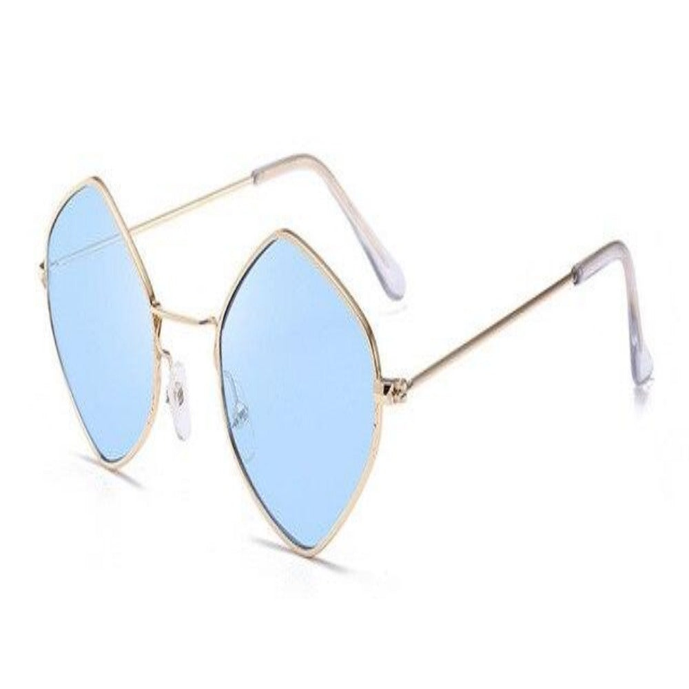 Men & Women's Clear Polygon Sunglasses-Ladies Sunglasses-C7-Blue-Product Details: Men & Women's Clear Polygon Vintage Sunglasses Lenses Optical Attribute: Mirror, UV400, Anti-Reflective Frame Material: Alloy Lenses Material: Polycarbonate Dimensions: Lens Width: 53 mm Lens Height: 46 mm-Keyomi-Sook