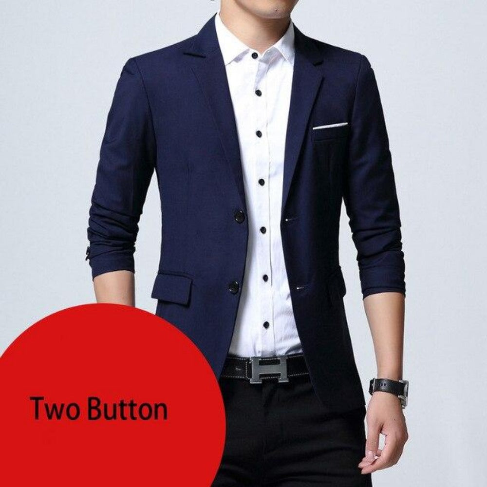 Breasted Two Button Blazer Jacket-Men's Jackets, Coats & Sweaters-navy two button-M-Product Details: Mens Slim Fit Elegant Blazer Jacket Brand Single Breasted Two Button Party Formal Business Dress Suit Size Chart:-Keyomi-Sook