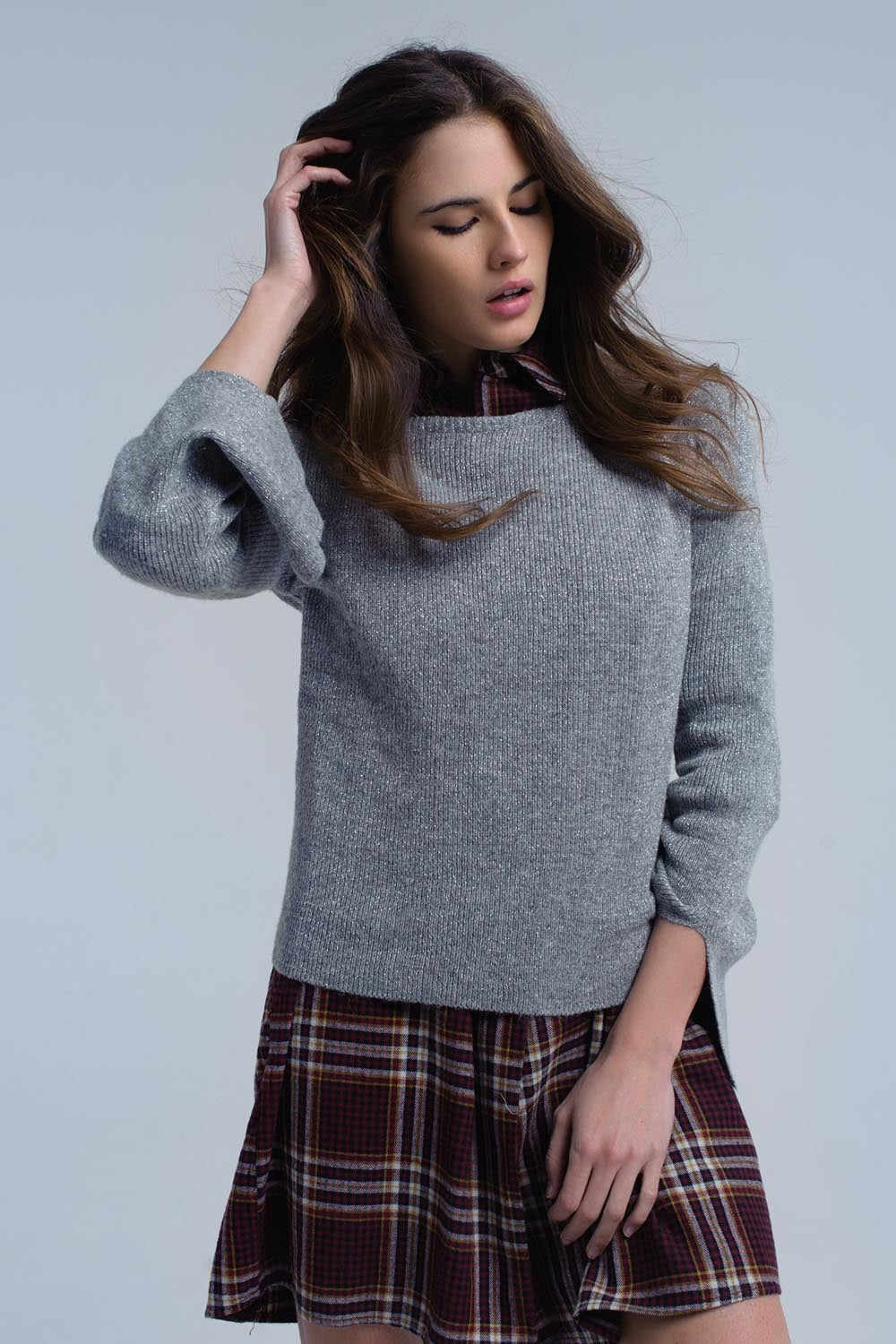 Gray Shiny Sweater-Women - Apparel - Sweaters - Pull Over-Product Details Gray shiny sweater with a crew neck, a round hem and long sleeves. The cuffs are wide and have little splits.-Keyomi-Sook