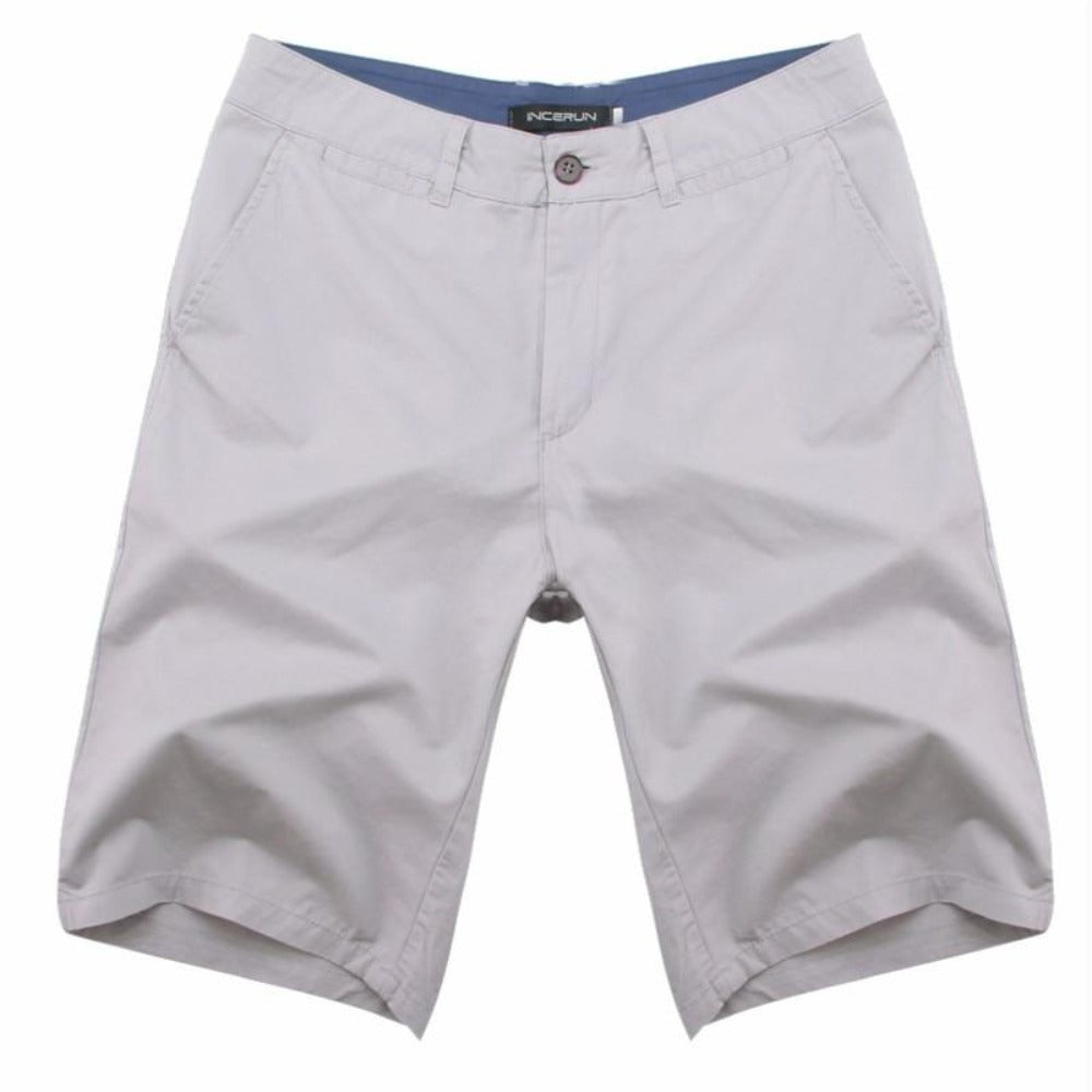 Men's Cotton Knee Length Summer Shorts-Mens Pants and Shorts-Gray-30-Product Details: Men's Cotton Knee Length Vintage Casual Summer Shorts Item Type: Shorts Style: Casual Material: Polyester, Cotton Waist Type: Mid Closure Type: Zipper Fly Fit Type: Straight Length: Knee Length Pant Style: Regular Pattern Type: Solid Color: Red, Navy, Khaki, Beige, Grey, Black, Army Green Package Include: 1 * Shorts Size Chart:-Keyomi-Sook