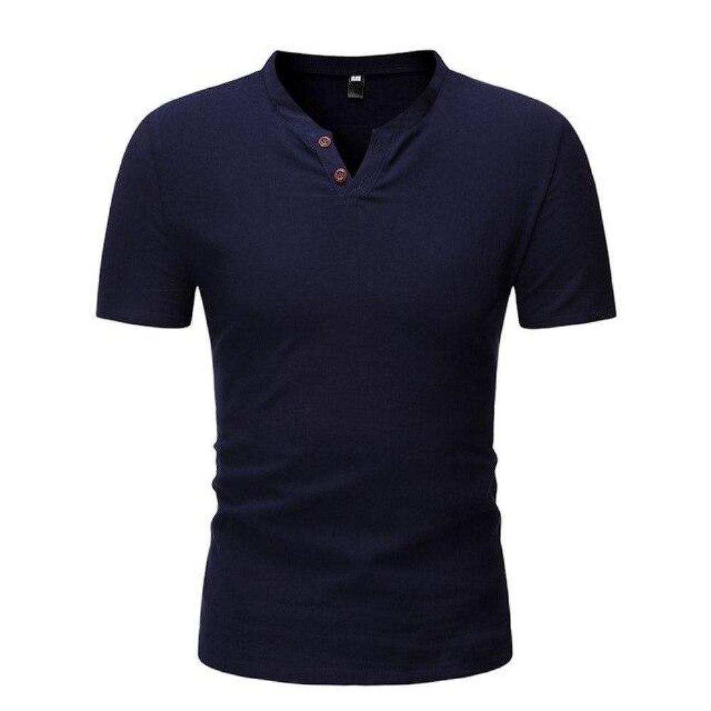 Men's Short Sleeve 2 Button Collarless Henley Shirt-Men's Shirt-navy blue-M-Product Details: Men's Button Down Short Sleeve Slim Fit Henley Casual Dress Shirt Item Type: Shirts Shirts Type: Casual Shirts Material: Linen, Spandex Sleeve Length (cm): Short Collar: Mandarin Style :Casual Fabric Type: Broadcloth Sleeve Style: Regular Pattern Type: Solid Closure Type: Single Breasted Size Chart:-Keyomi-Sook