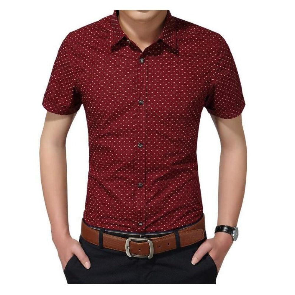 Men'S Polka Dot Short Sleeve Shirt M-5Xl-Men's Polos & Dress Shirts-Red-M-Product Details: Men's Polka Dot Plus Size Short Sleeve Casual Shirt Item Type: Shirts Shirts Type: Casual Shirts Material: Cotton Sleeve Length (cm): Short Collar: Turn-down Style: Casual Fabric Type: Broadcloth Sleeve Style: Regular Pattern Type: Polka Dot Closure Type: Single Breasted Size Chart:-Keyomi-Sook