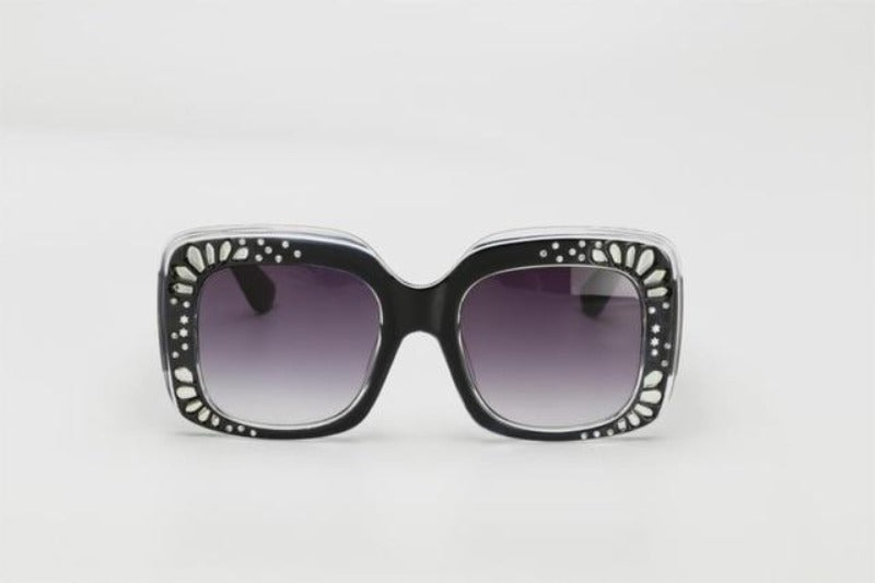 Side Striped Oversized Rhinestone Sunglasses-Ladies Sunglasses-c1 black gray-Product Details: Oversized Rhinestone Sunglasses Women luxury Brand Shades Big Frame Ladies Trendy Sunglasses Style: Square Lenses Material: Polycarbonate Dimensions: Lens Height: 47 mm Lens Width: 52 mm-Keyomi-Sook