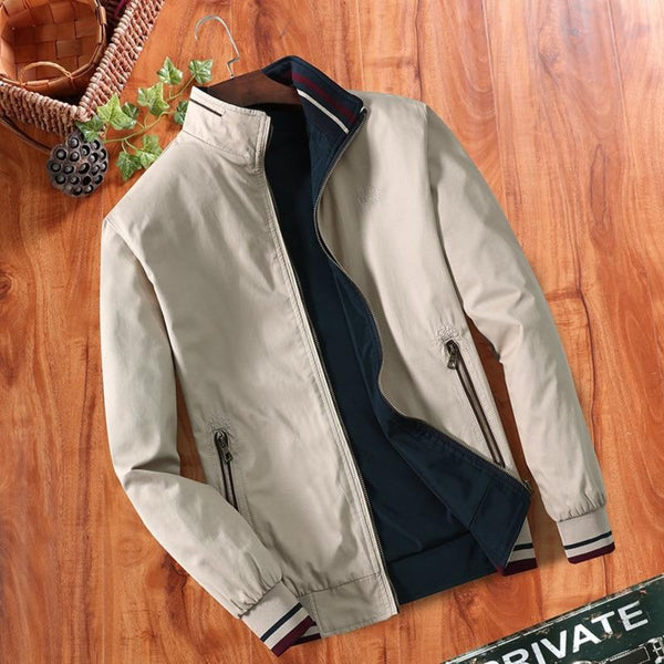 L-4XL Men's Double-Sided Collar Blouse Jacket-Men's Jackets, Coats & Sweaters-Beige-L-Keyomi-Sook